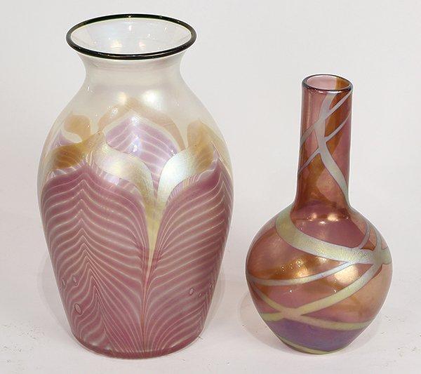 (lot of 2) Lundberg studios iridescent art glass vases