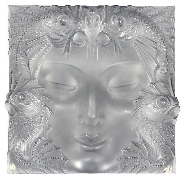 Lalique France Frosted glass 'Mask De Femme' plaque