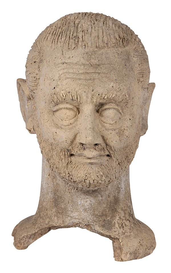 Etruscan life-sized clay votive head of a male, Italy,