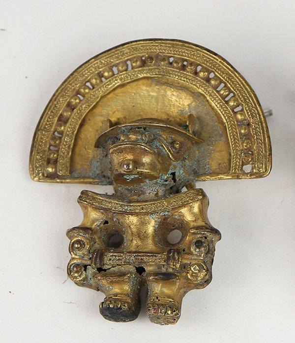 Pre-Columbian tumbaga gilt modern pin on verso,