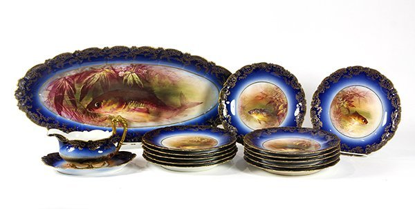 (lot of 14) Limoges fish service