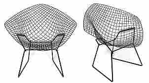 (lot of 2) Harry Bertoia for Knoll Diamond chairs, each
