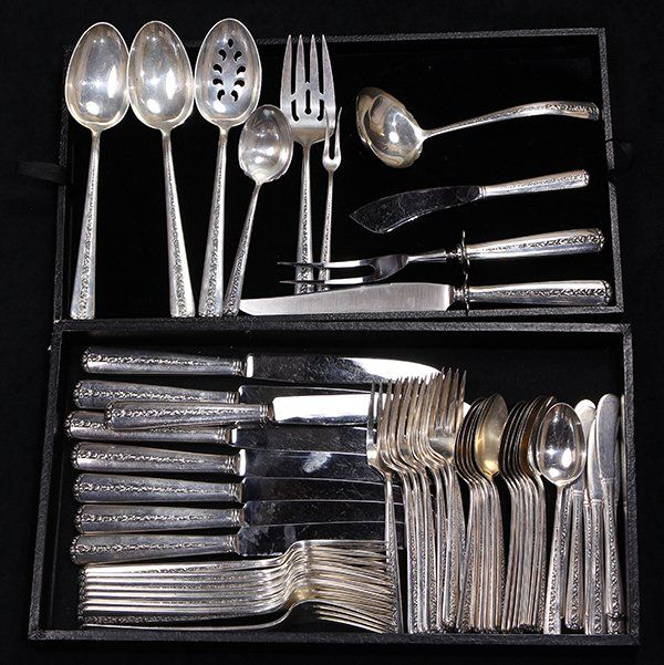 American sterling silver flatware service for eight