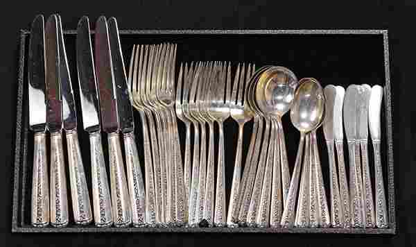 American sterling silver flatware service for six by