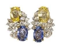 Pair of sapphire, diamond, platinum and 18k yellow gold