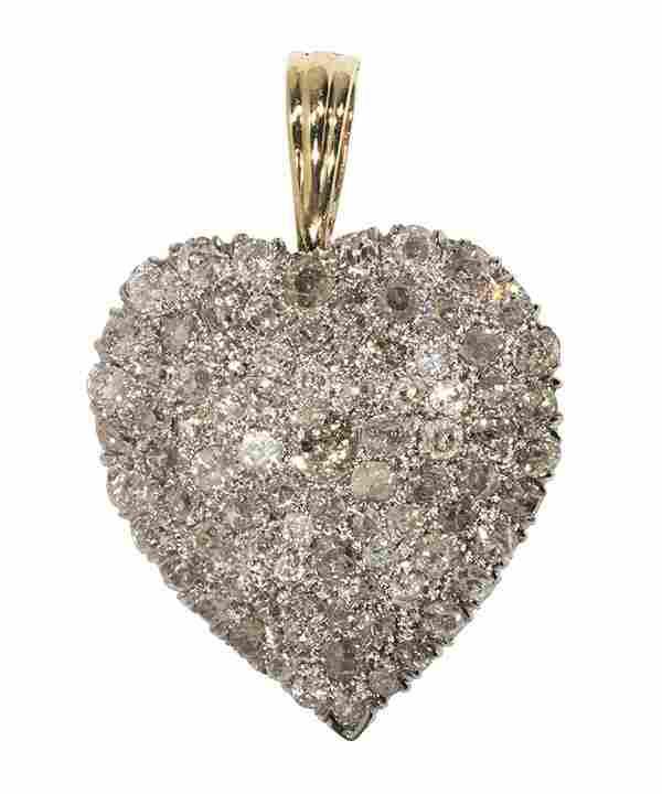 Diamond, 14k yellow and white gold heart pendant