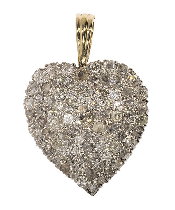Diamond, 14k yellow and white gold heart pendant