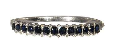 Sapphire, diamond and 18k white gold bangle bracelet