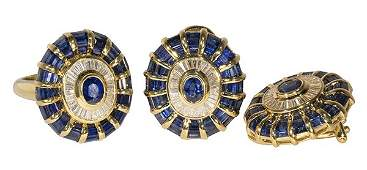 Sapphire, diamond, 18k yellow gold ring and earring