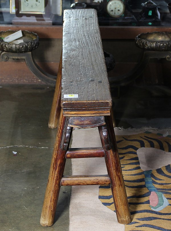 Chinese Narrow Wood Bench - 2