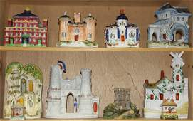 Two shelves of Staffordshire figural groups, 18th and