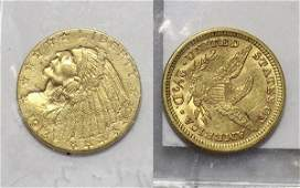 Lot of 2 US 2 12 dollar gold coins 1 Coronet