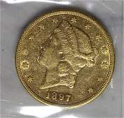 1897S US Double Eagle twenty dollar gold coin