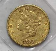 1882S US Double Eagle twenty dollar gold coin