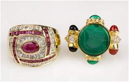 (Lot of 2) Gemstone and 14k yellow gold rings