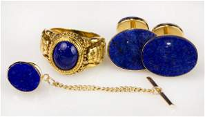Collection of Lapis Lazuli and yellow gold jewelry