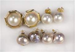 Lot of 4 Cultured pearl diamond and 14k yellow gold