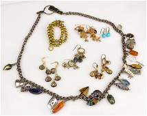 Collection of gem, 14k yellow gold, silver gilt and