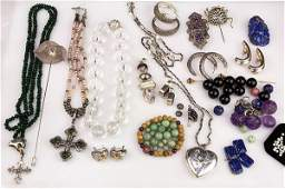 Collection of gem silver and gold jewelry