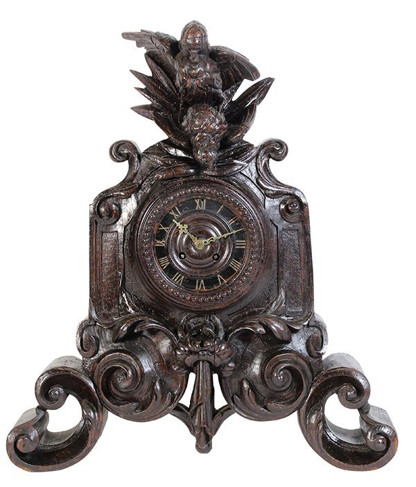Swiss Black Forest mantle clock, 19th century, the