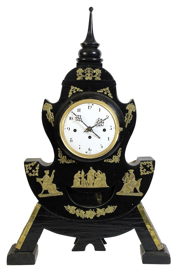 Biedermeier black ebonized mantle clock