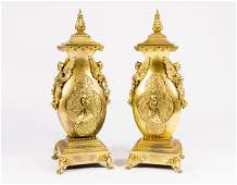 Pair of dore bronze urns in the Neoclassical taste