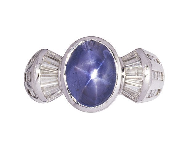 Star sapphire, diamond and platinum ring