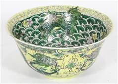 Chinese Famille Verte Bowl Dragon