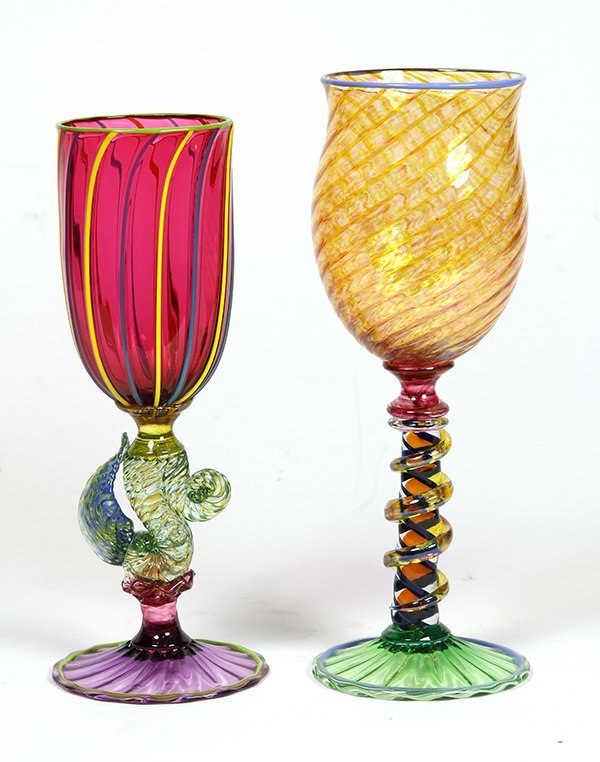 (lot of 2) Signed Murano glass goblets