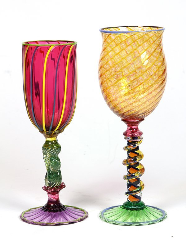 (lot of 2) Signed Murano glass goblets - 2