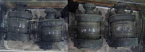 (lot of 4) Ship's masthead lanterns, executed in zinc,