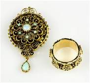Lot of 2 Opal and 14k yellow gold jewelry items