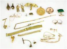 Collection of gem gold and yellow metal jewelry