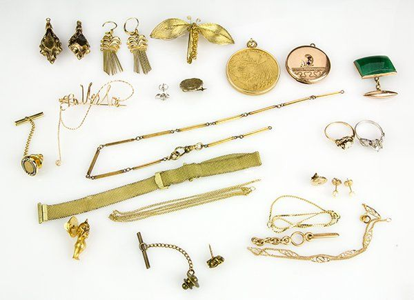 Collection of gem, gold and yellow metal jewelry