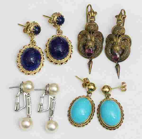 Collection of gem and gold earrings