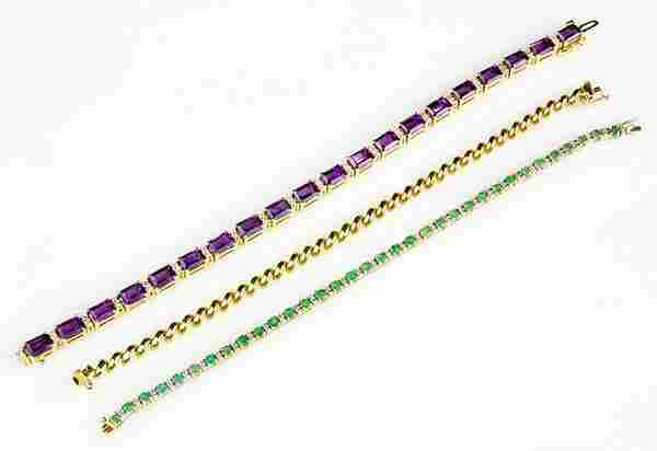 Collection of amethyst, emerald and 14k yellow gold