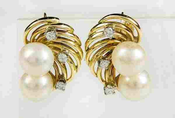Pair of cultured pearl, diamond and 14k yellow gold