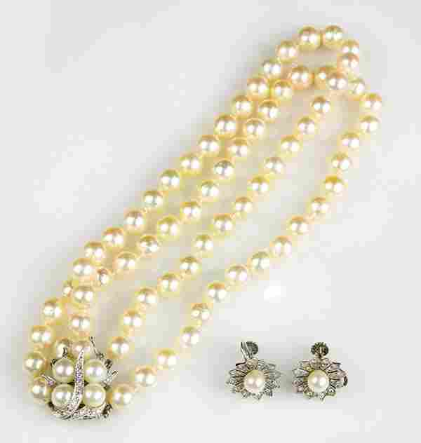 Collection of cultured pearl, diamond and 14k white