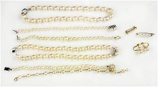 Collection of cultured pearl and yellow gold jewelry