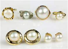Collection of cultured pearl diamond and yellow gold