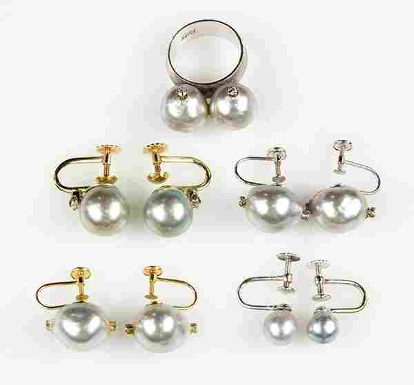 Collection of cultured pearl, imitation pearl, diamond,