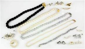 Collection of cultured pearl diamond gold and silver