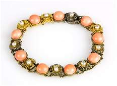 Coral, pearl and 14k yellow gold bracelet