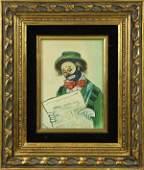 Painting Smoking Clown Reading Newspaper