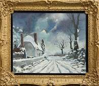 Painting, Winter Village Snow Scene