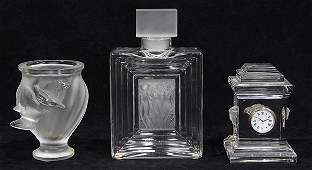 lot of 3 Lalique France and Rosenthal crystal