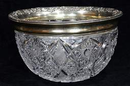 Gorham sterling silver and crystal center bowl