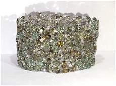 Demantoid garnet diamond and 18k white gold bracelet