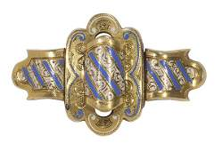 Victorian enamel and 14k yellow gold brooch