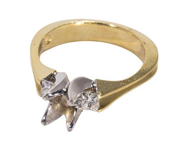 Diamond, platinum and 18k yellow gold ring semi